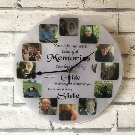 Personalised 12 photo Remembrance clock