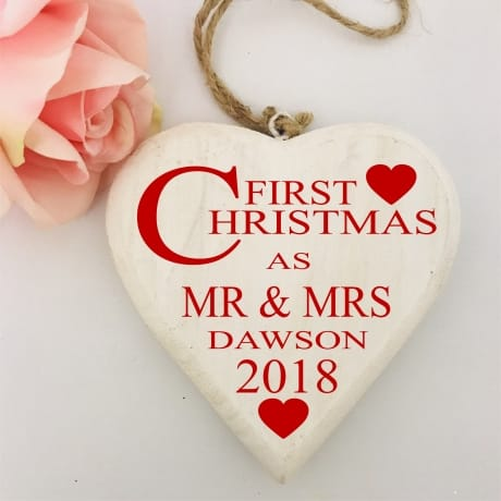Personalised 1st year as Mr & Mrs - Wooden heart