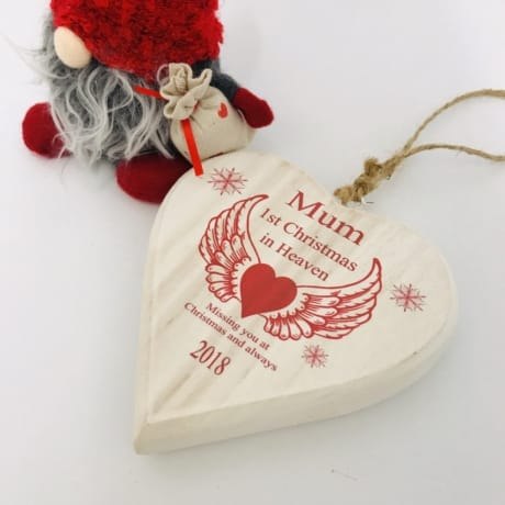 1st Christmas in Heaven - Wooden Remembrance Christmas heart