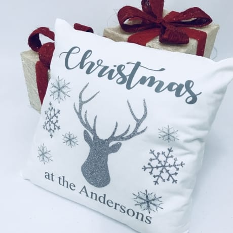 Personalised Christmas name glitter cushion
