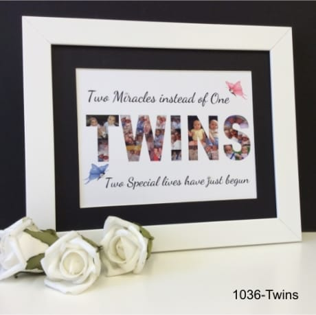 Children's Keepsake: 1036- Twins word photo collage
