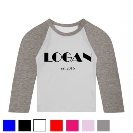 Personalised name and date baseball T.shirt