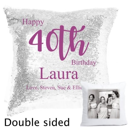 Sequin reveal cushion - Happy birthday