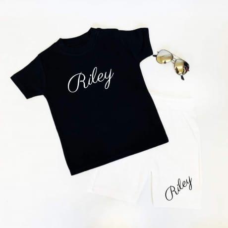 Embroidered personalised short set - Black & white