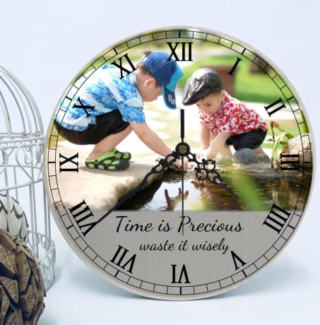 Chunky wooden family photo clock