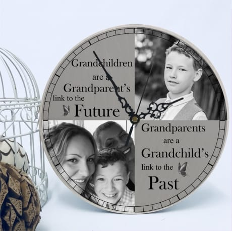 Personalised solid wooden clock- Grandparents