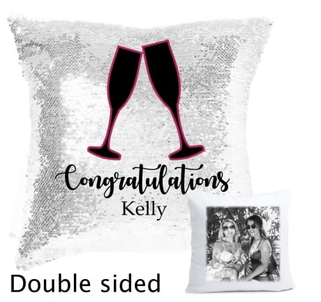 Sequin reveal cushion - Congratulations