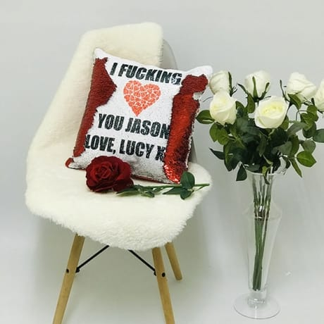 Fun love you sequin reveal cushion