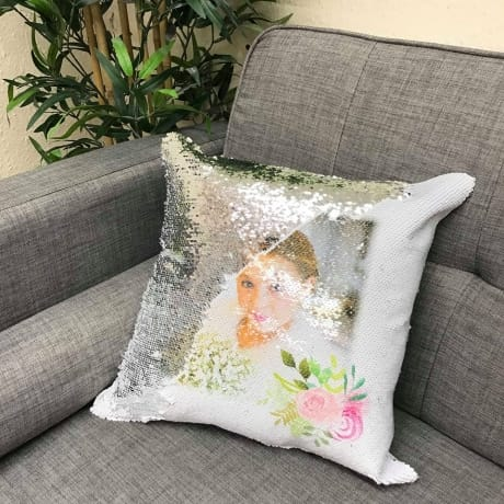 Silver sequin reveal cushion with one photo & floral detail