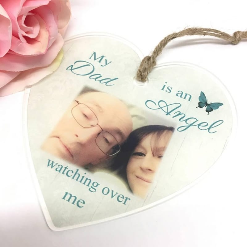 Personalised Acrylic Heart - Add any name Angel watching over me