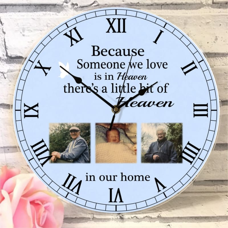 Personalised 3 photo remembrance clock