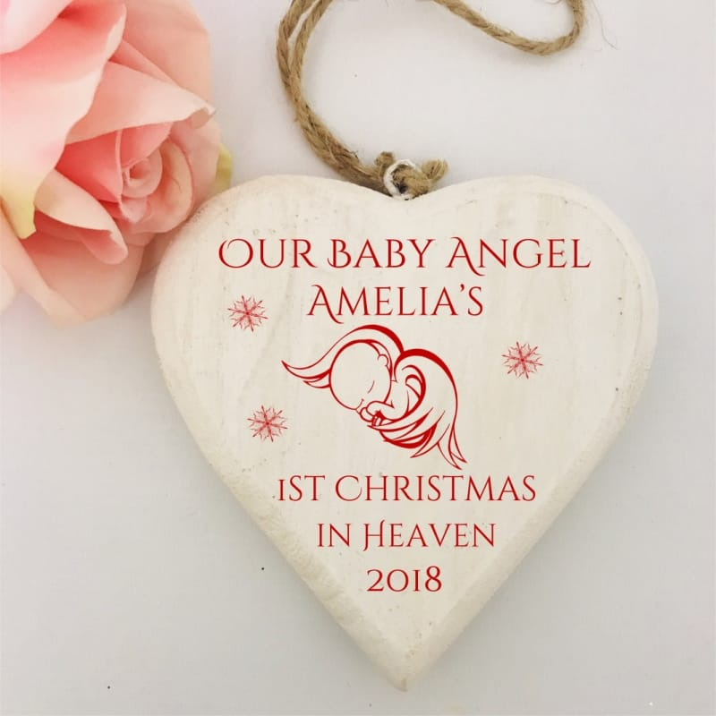 angel babys 1st christmas in heaven wooden heart