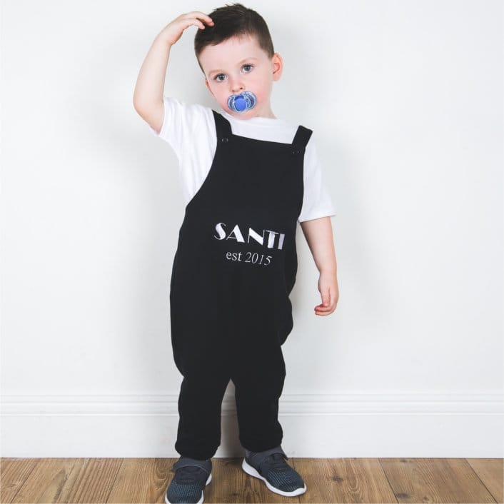 Personalised name and date Dungarees
