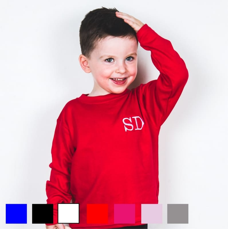 Personalised embroidery initials long sleeved T-shirt