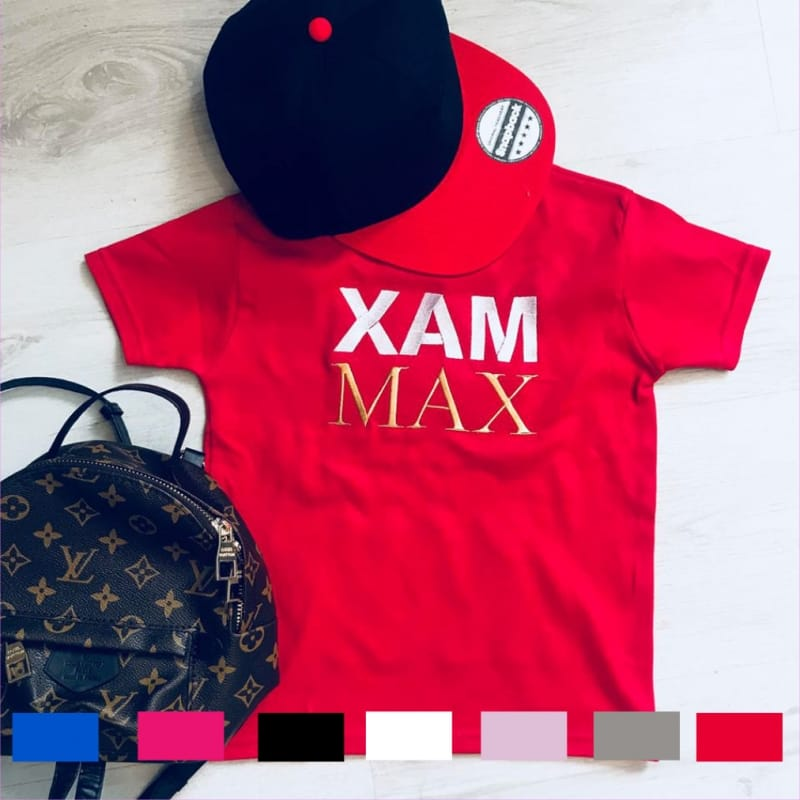 Personalised double name embroidery T-shirt