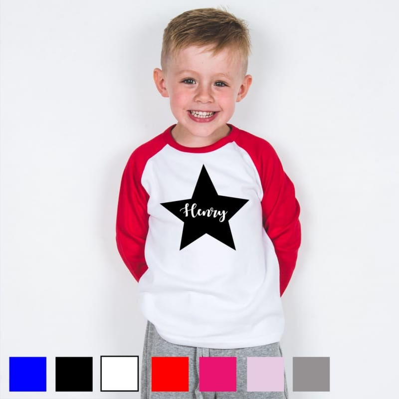 Personalised star name baseball T.shirt