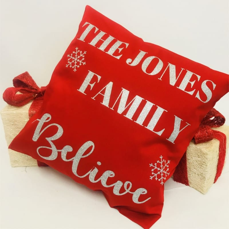 Personalised Christmas Cushion - Our family believes