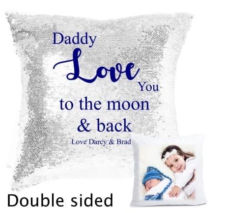 Sequin reveal cushion - moon and back