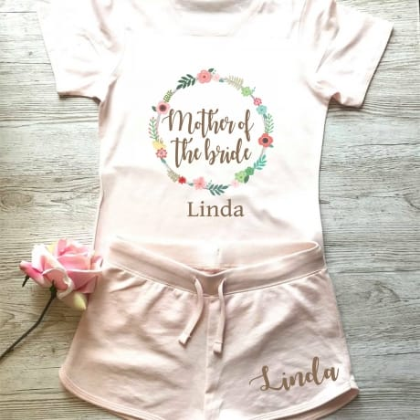Wedding party personalised floral lounge wear for the Mother of the bride