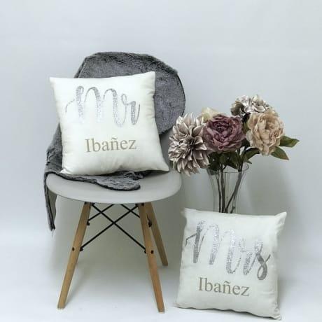 Personalised Mr & Mrs Cushions set