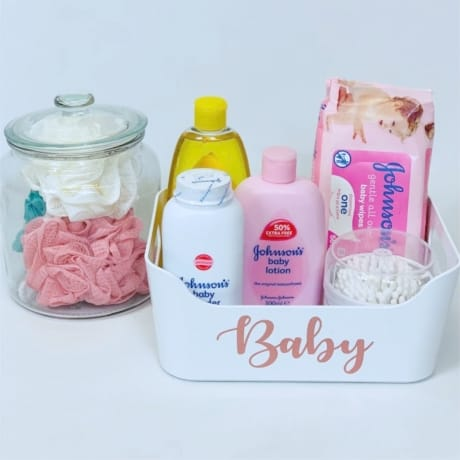 Mrs Hinch inspired baby toiletries basket