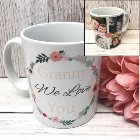 Personalised Floral circle mug