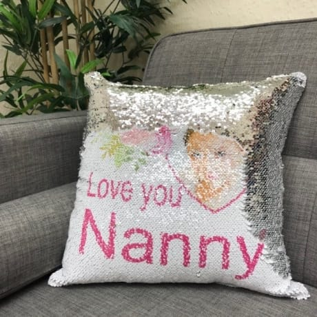Personalised silver sequin reveal cushion