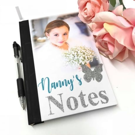 Glitter text notebook, change name and colours