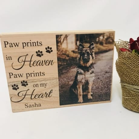 Personalised wooden block - paw prints in Heaven