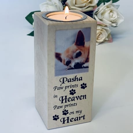 Tall Tealight holder - Paw prints in Heaven