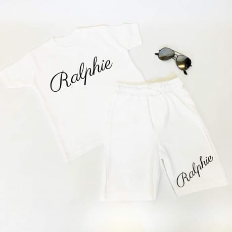 Personalised name short & T-shirt set in various colours
