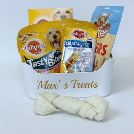 Personalised dog treats basket