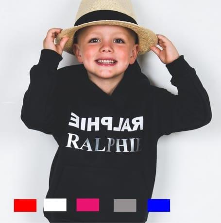Personalised Silver text name hoodie