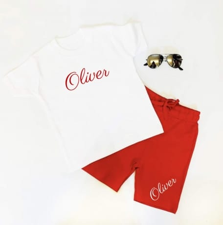Personalised short set - White & Red