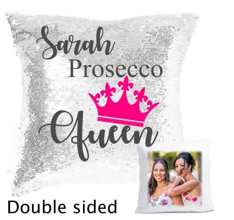 Sequin reveal cushion - Prosecco queen