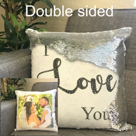Sequin reveal cushion - I love you