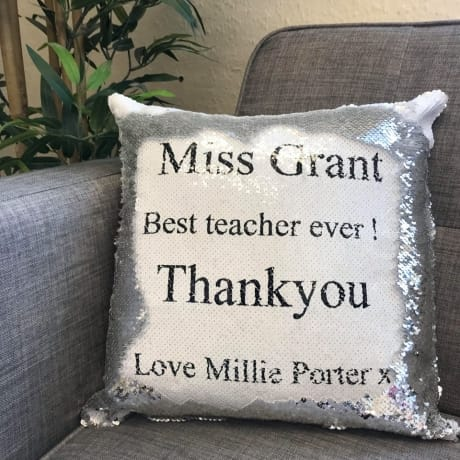 Sequin reveal cushion - any text