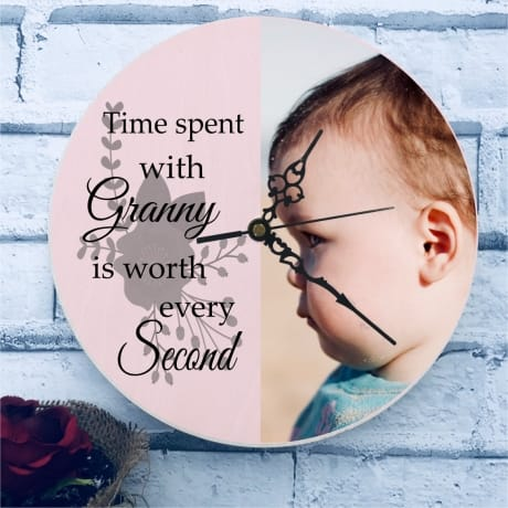 Personalised chunky wooden clock - editable text
