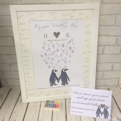 Finger print design: Wedding penguins